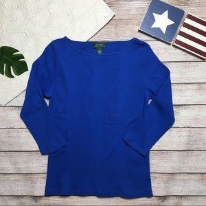 Ralph Lauren Royal Blue 3/4 Sleeve Top